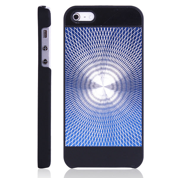Glittering Swirl Design Hard Back case for Apple iPhone 5 5s Black Blue
