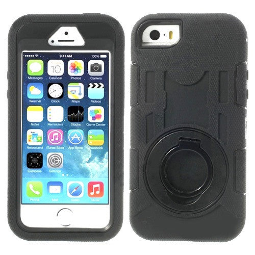 Bracevor 3 in 1 Armored Case for iPhone 5 5s with stand - Black