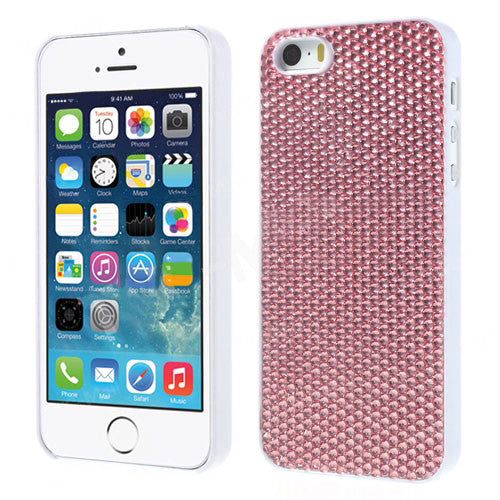 Sparkling Gel Crystal Designer Hard Back Case for iPhone 5 5s Silver Pink