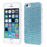 Sparkling Gel Crystal Designer Hard Back Case for iPhone 5 5s Silver Blue