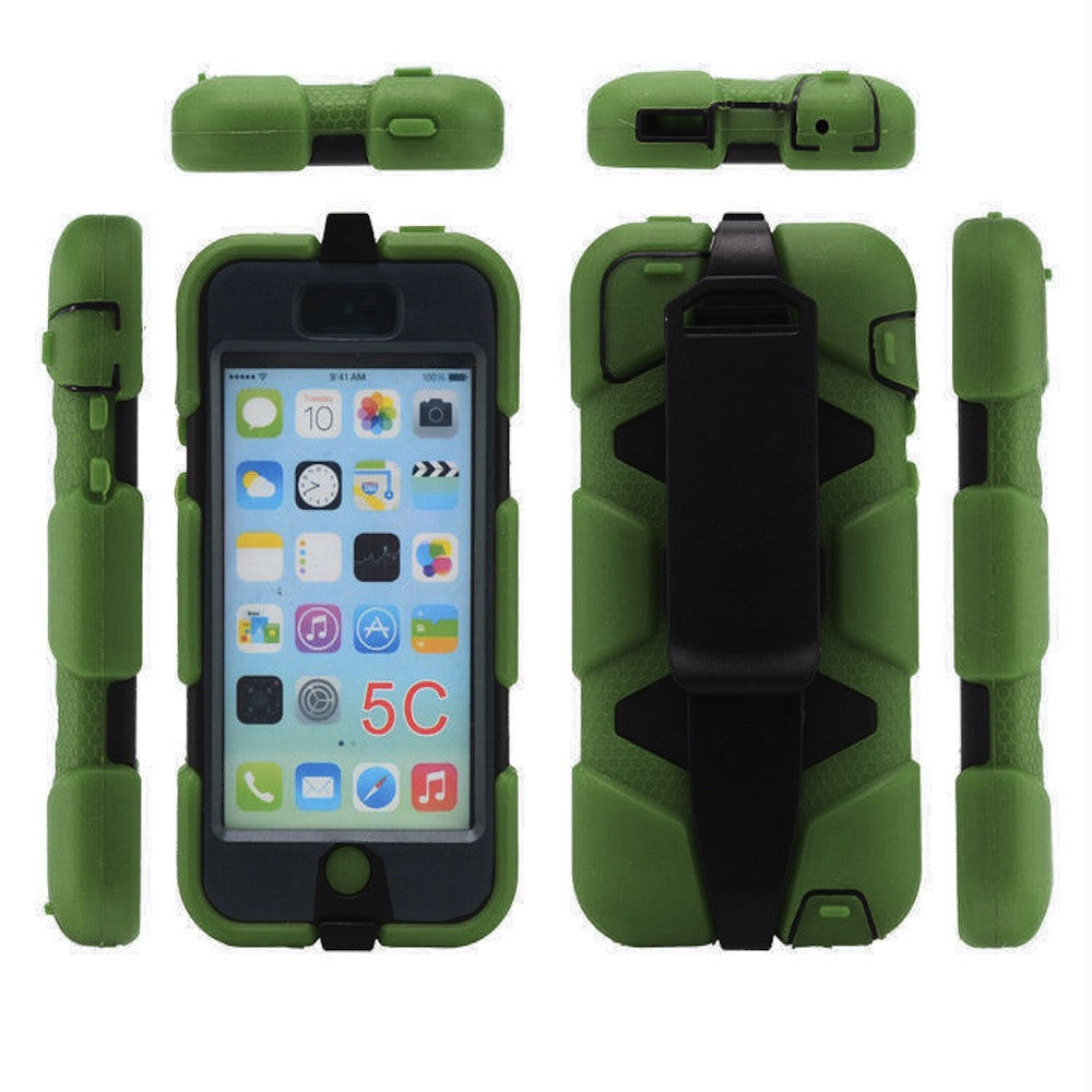 Bracevor 4 in 1 Heavy Duty Armor Survivor Case Cover with Belt clip holster for Apple iPhone 5c - Military Green 1