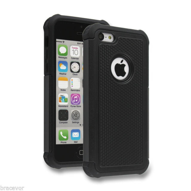 Bracevor Triple Layer Defender Back Case Cover for Apple iPhone 5c - Black