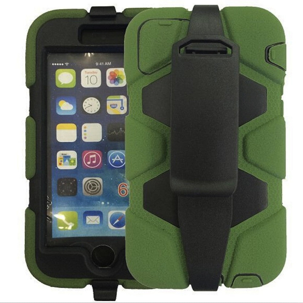"Bracevor 4 in 1 Heavy Duty Armor Case with Belt clip holster for iPhone 6 4.7"" military green"