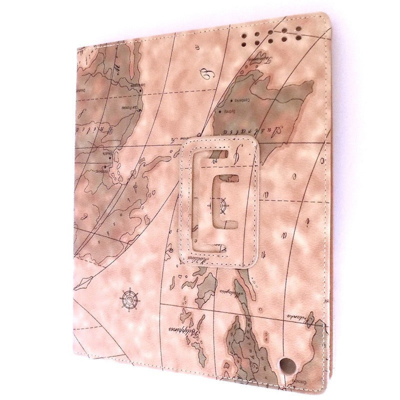 Bracevor Map Design Smart Leather Case for Apple iPad 2 3 4 Dark Beige a