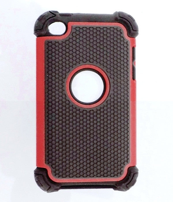 Triple Layer Defender Back Case for Apple iPod Touch 4 - Red