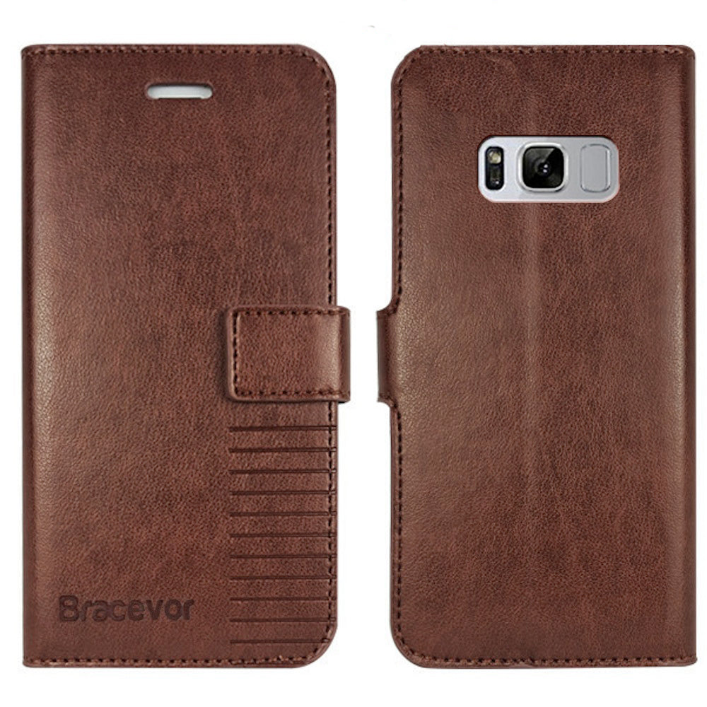 buy online 30893 dec58 Samsung Galaxy S8 Plus Flip Cover Case : Inner TPU, Premium Leather Wallet  Stand - Executive Brown