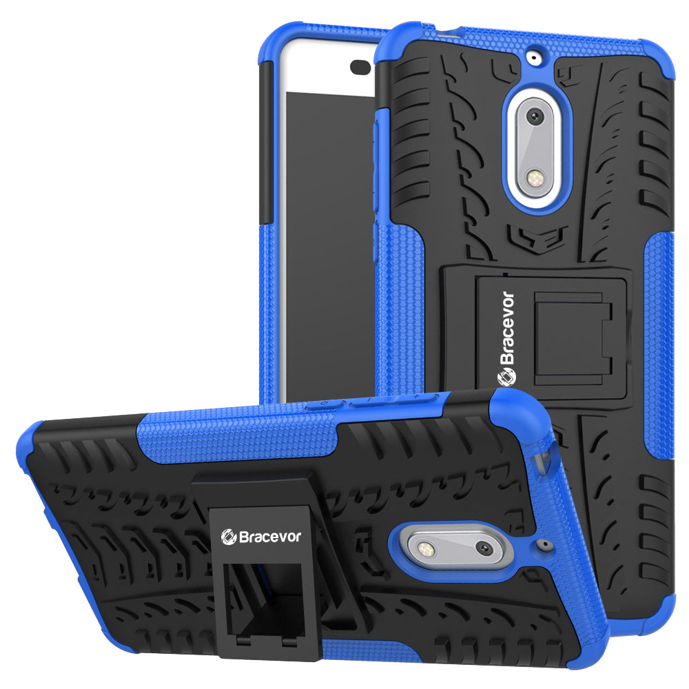 Shockproof Nokia 6 Hybrid Kickstand Back Case Defender Cover - Blue