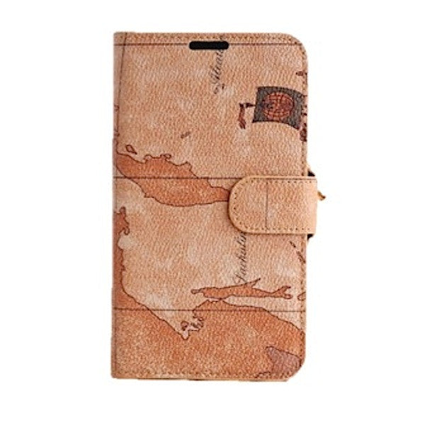 Bracevor Artistic Beige Map Pattern Leather Samsung Galaxy Note 2 N7100 Wallet Case