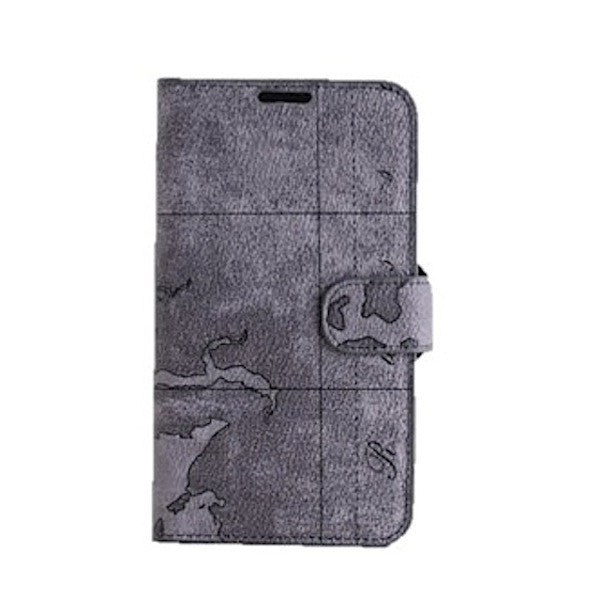 Bracevor Artistic Grey Map Leather Wallet Case for Samsung Galaxy Note 2