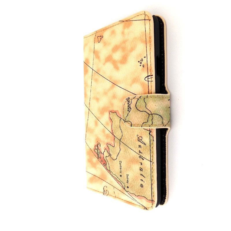 Bracevor Artistic Map Pattern Leather Samsung Galaxy Note 3 Wallet Case - Light Beige 1