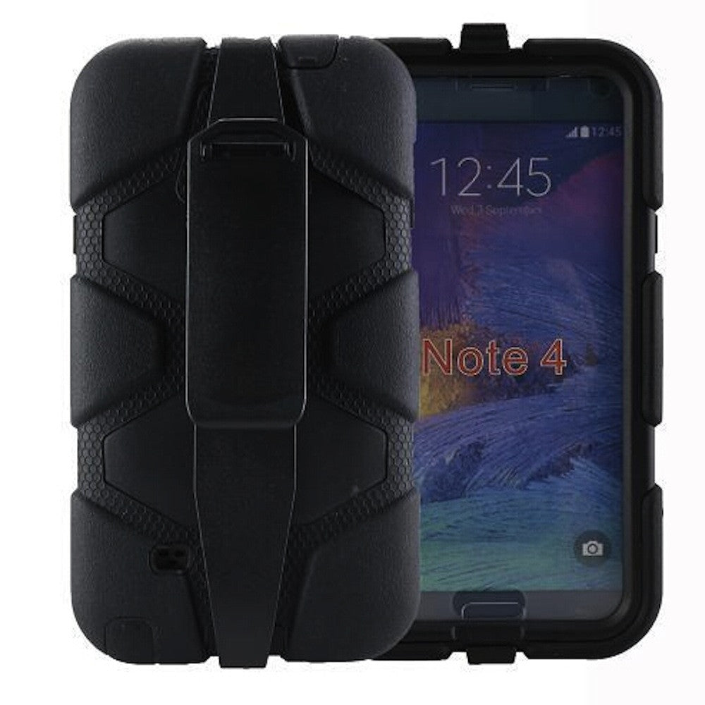 4 in 1 Heavy Duty Armor Case with Belt Clip holster for Samsung Galaxy Note 4 - black 1