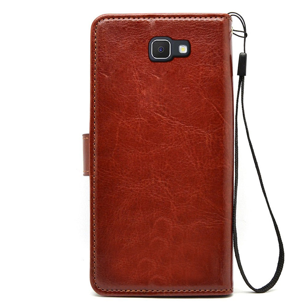 official photos 44d93 5aa9f Bracevor Premium Leather Flip Cover Case For Samsung Galaxy On7 Prime
