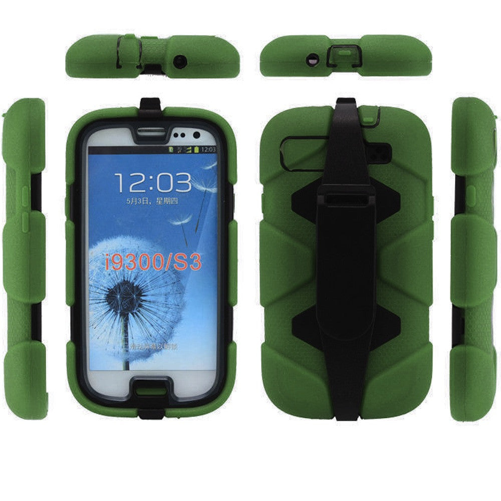 Bracevor 4 in 1 Heavy Duty Armor Case with Belt Clip holster for Samsung Galaxy S3 - green 1