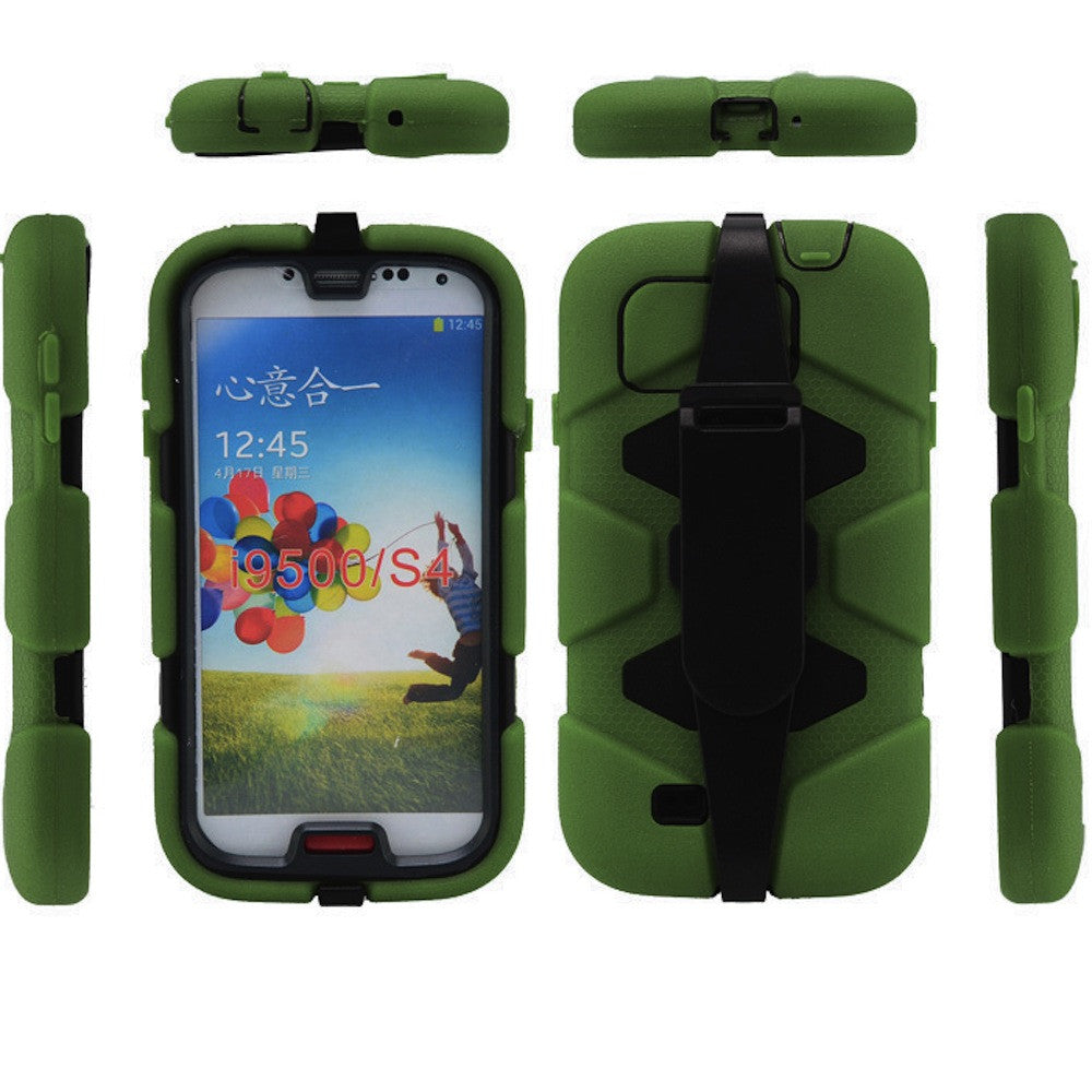 4 in 1 Heavy Duty Armor Case with Belt Clip holster for Samsung Galaxy S4 - green 1