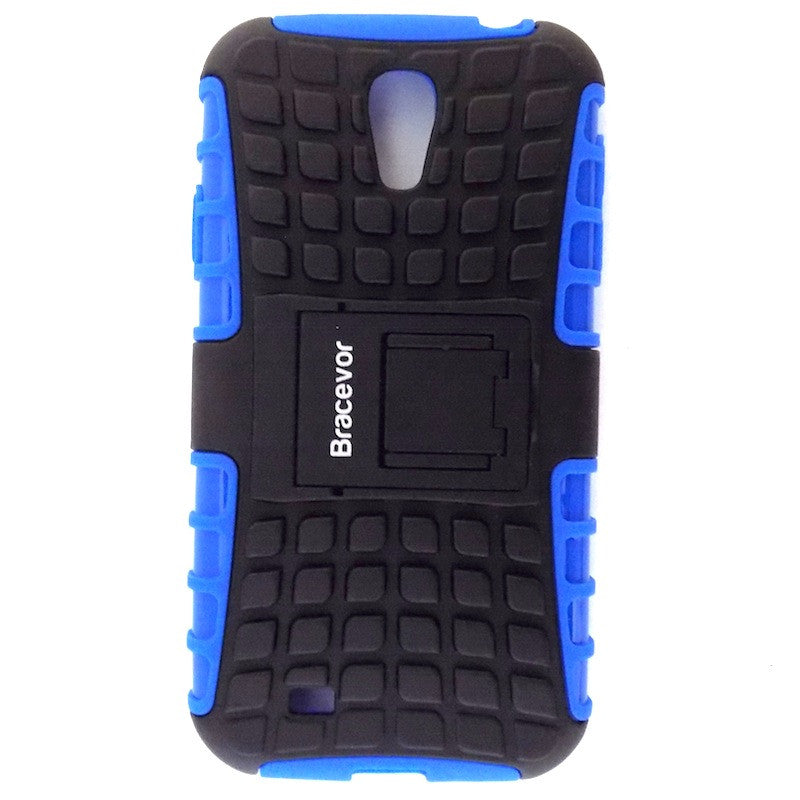 Bracevor Rugged Armor Hybrid Kickstand Case Cover for Samsung Galaxy S4 i9500 - Blue