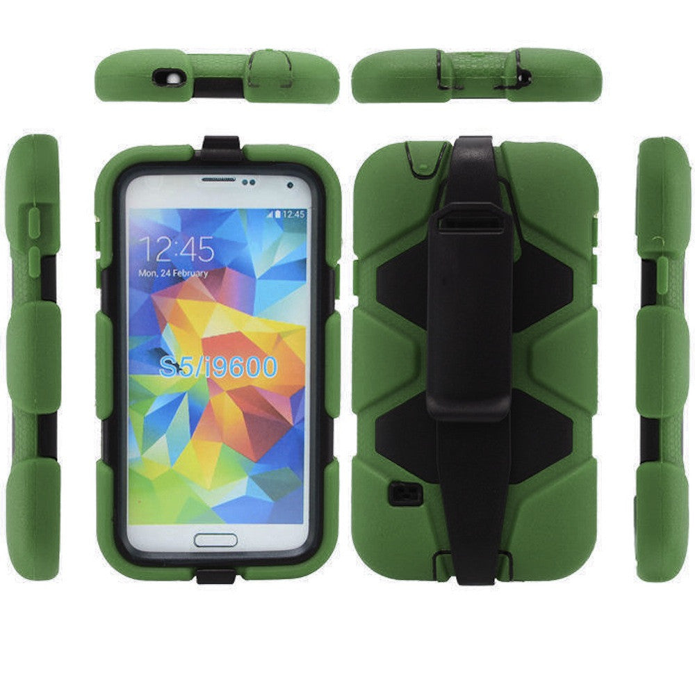 4 in 1 Heavy Duty Armor Case with Belt Clip holster for Samsung Galaxy S5 - green 1