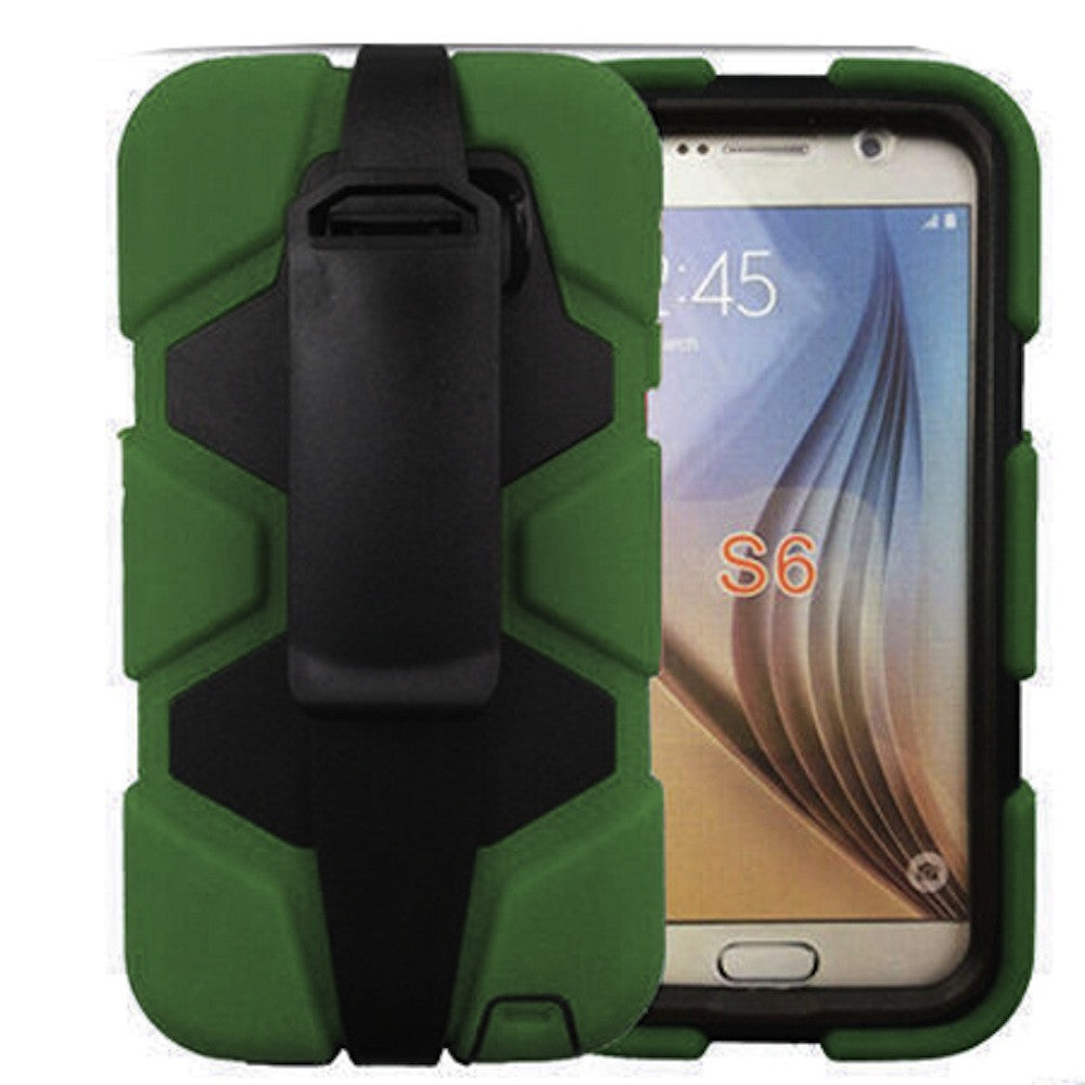 4 in 1 Heavy Duty Armor Case with Belt Clip holster for Samsung Galaxy S6 - green 1