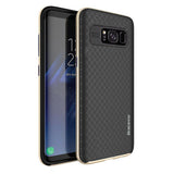 Shockproof Carbon Fiber Hybrid Back Case Cover for Samsung Galaxy S8 - Golden