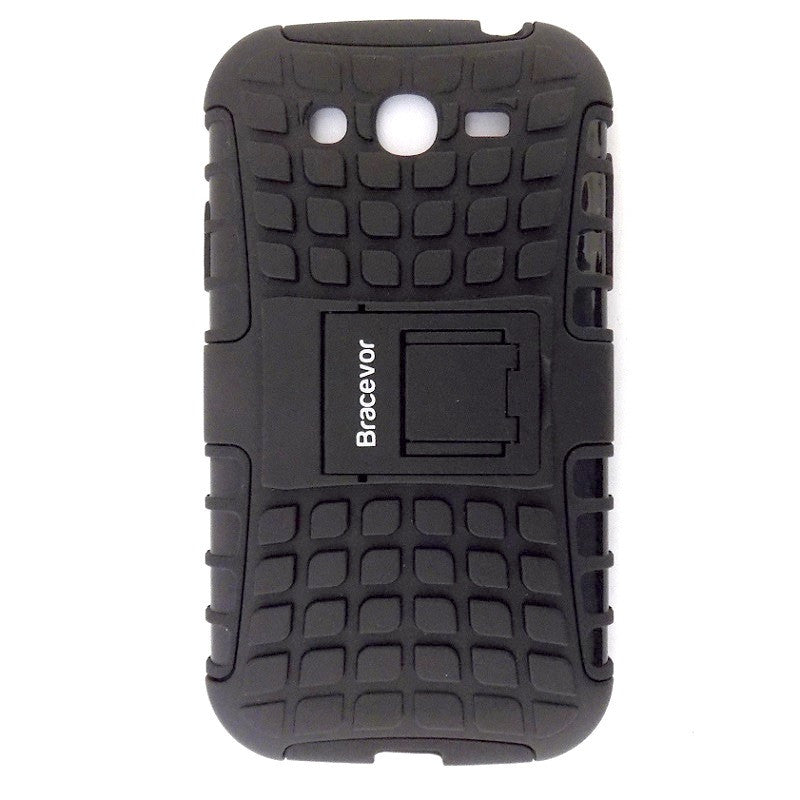 Bracevor Rugged Armor Hybrid Kickstand Case Cover for Samsung Galaxy Grand Duos i9082 - Black