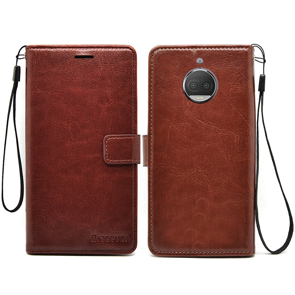Motorola Moto G5S Plus Premium Flip Cover Leather Case | Inner TPU | Wallet Stand - Executive Brown