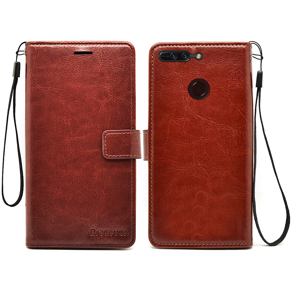 Huawei Honor 8 Pro Flip Cover Leather Case | Inner TPU | Wallet Stand - Executive Brown