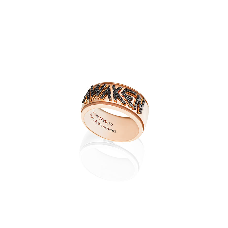 Awaken Ring in Pink Gold with Black Diamonds