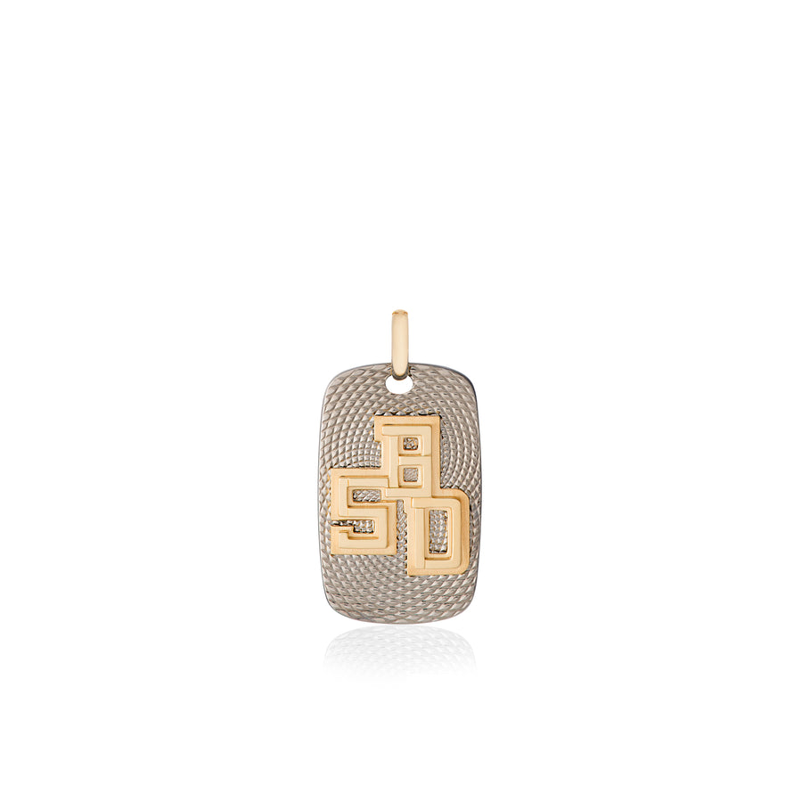B.5D Pendant in Light Grey Titanium and Yellow Gold
