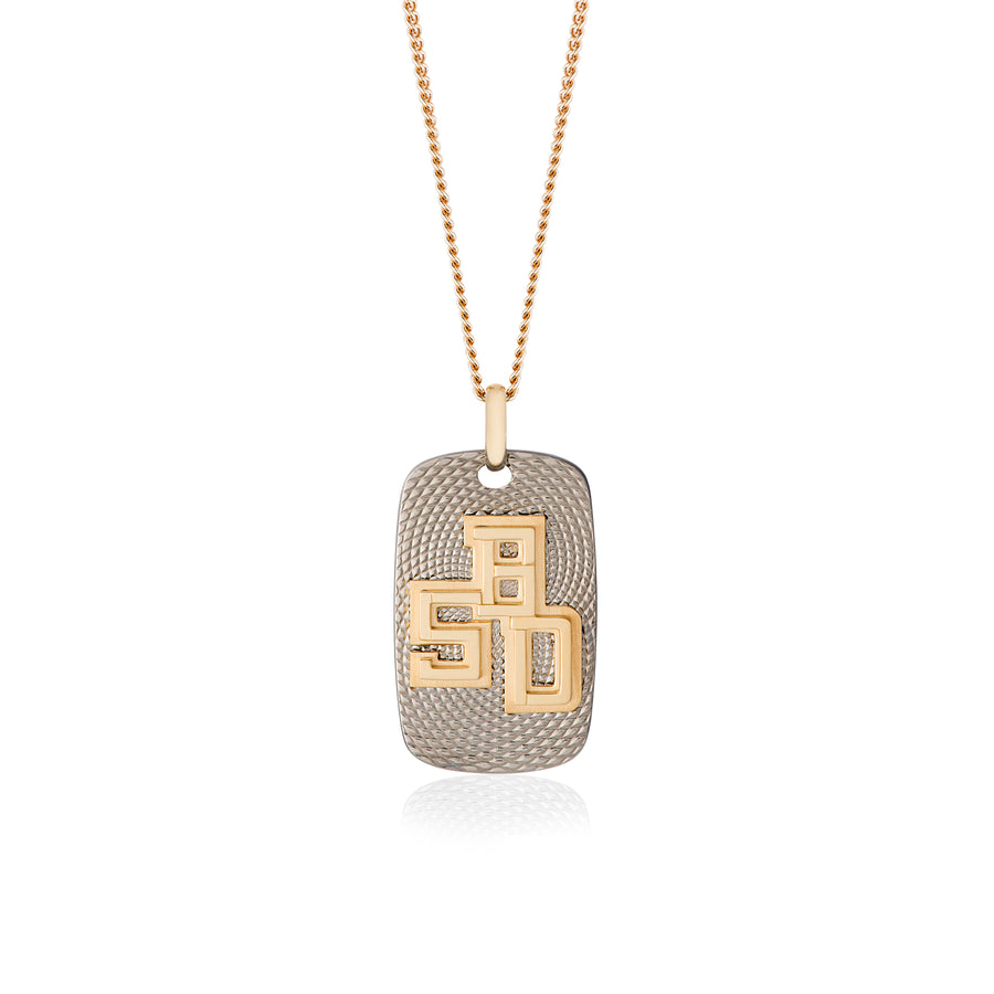 B.5D Necklace in Light Grey Titanium and Yellow Gold