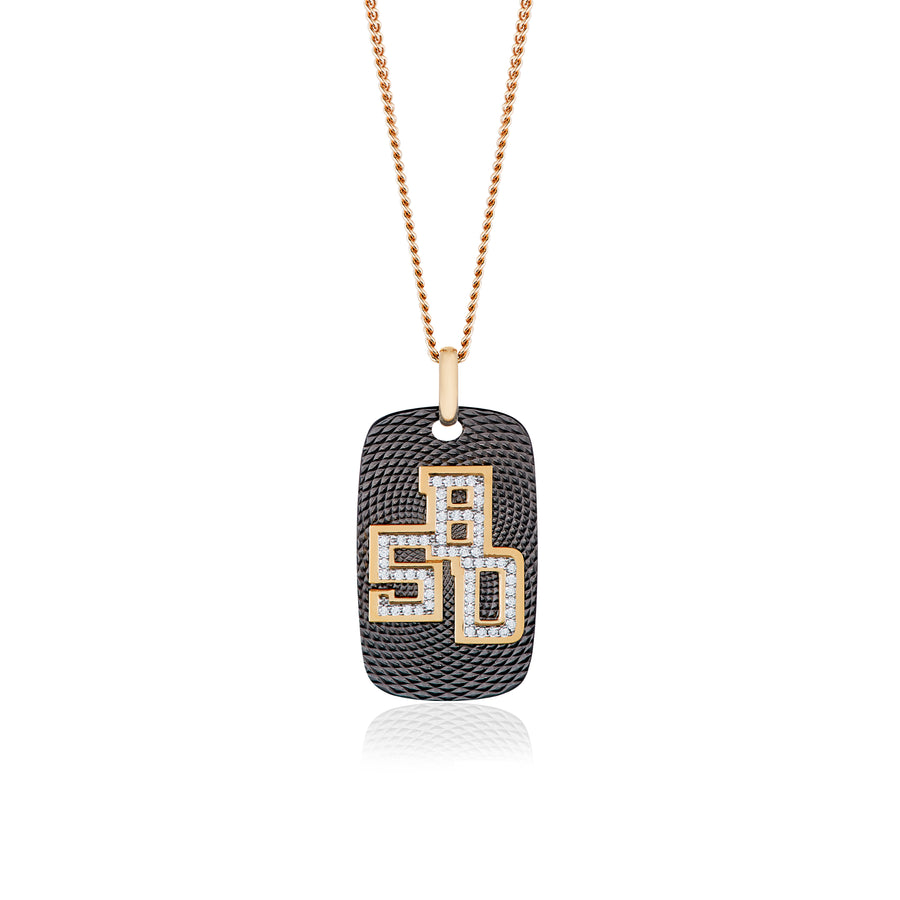 B.5D Necklace with Black Titanium and Yellow Gold