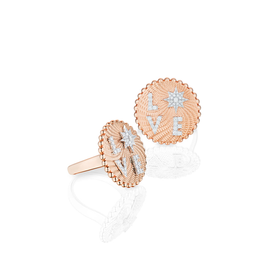 Love Frequency Full Diamond Ring in Pink Gold Love & Light Frequency