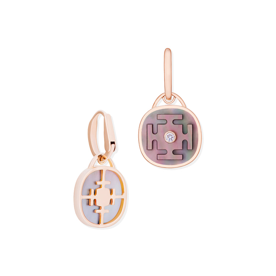 Yantra Earrings with Mother of Pearl