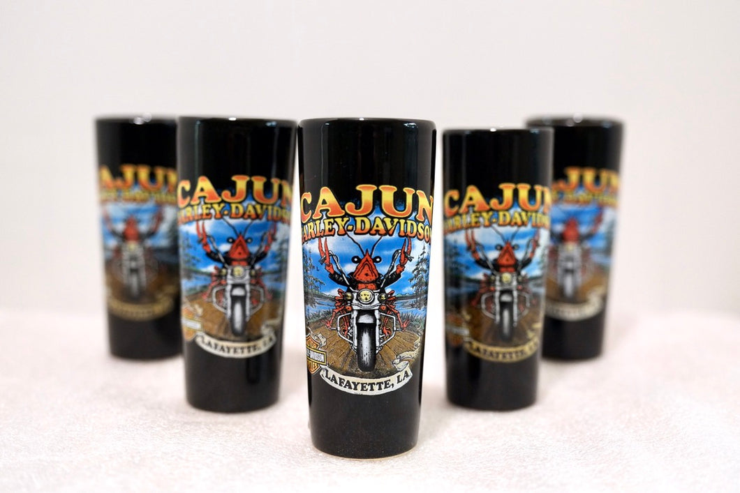 Tall Cajun Harley-Davidson Crawfish Shot Glass