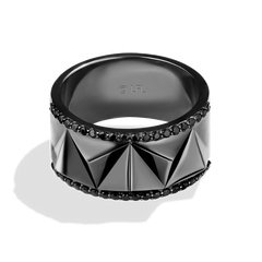DARK ARMOR MEN'S RING 1/2 CT.TW. Black Diamonds Silver with Black Rhodium