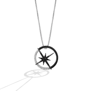 GUARDIANS OF LIGHT WOMEN'S PENDANT 1/4 CT.TW. Black and White Diamonds Silver and Black Rhodium
