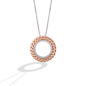 GALACTIC ROYALTY WOMEN'S PENDANT 1/6 CT.TW. White Diamonds True Two Tone Silver and 10K Rose Gold