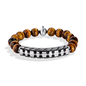 THE WOOKIEE MEN'S BRACELET Tiger Eye Shamballa Beads Silver and Black Rhodium
