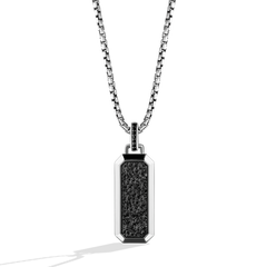 IN CARBONITE UNISEX PENDANT Black Diamond Accents Silver with Black Rhodium