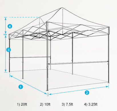 10x20 Custom Pop Up Tent Dimensions
