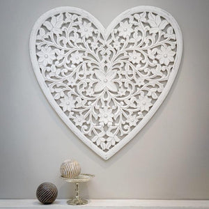 white carved mango wooden heart wall art