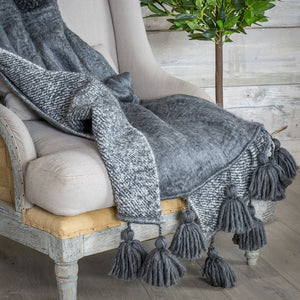 grey throw with tassels reversible