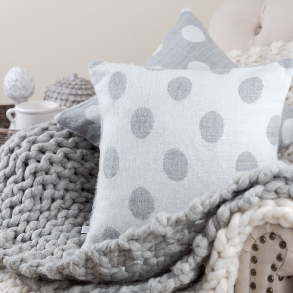 white and grey polka dot scatter cushion soft