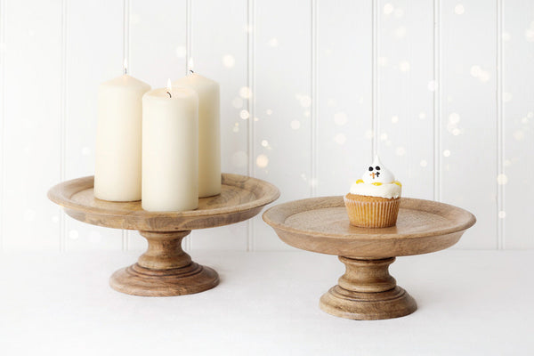 mango wooden carved pedestal cake stands