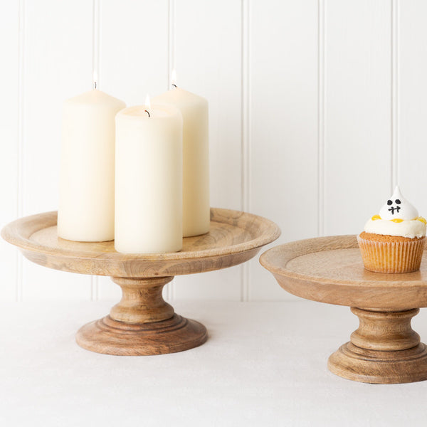 mango wooden pedestal cake stands in small and large