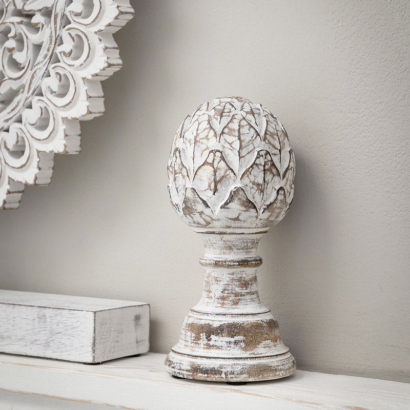 ivory wood artichoke decoration with white finish