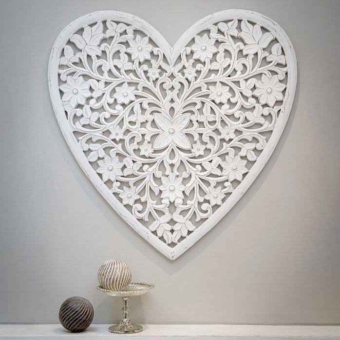 Mango wood carved wall heart in white for wall art