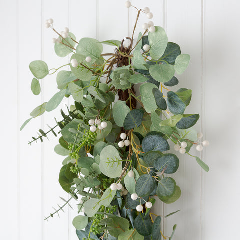 Artificial eucalyptus Christmas swag garland for fireplace or door
