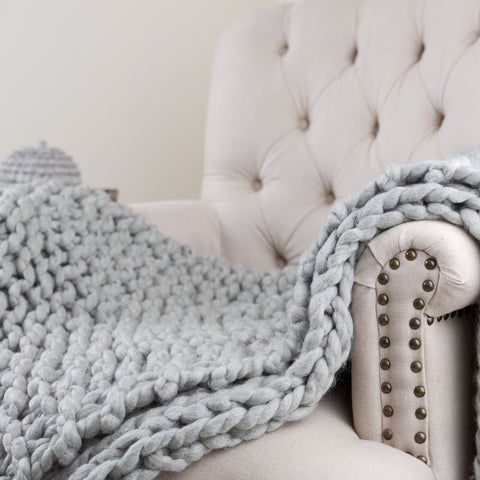 chunky knit grey throw uk