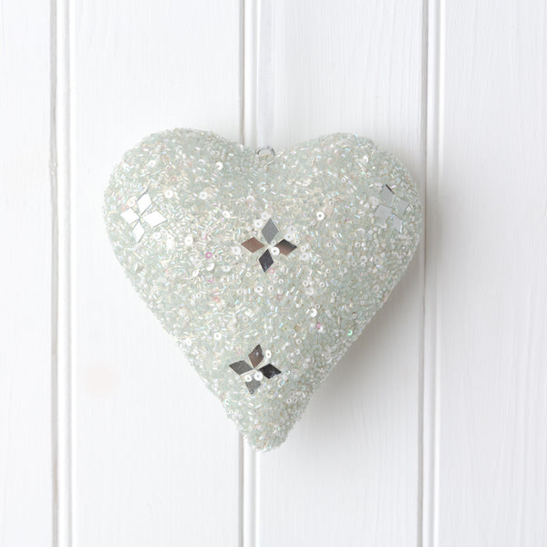 white and silver beaded hanging heart decoration