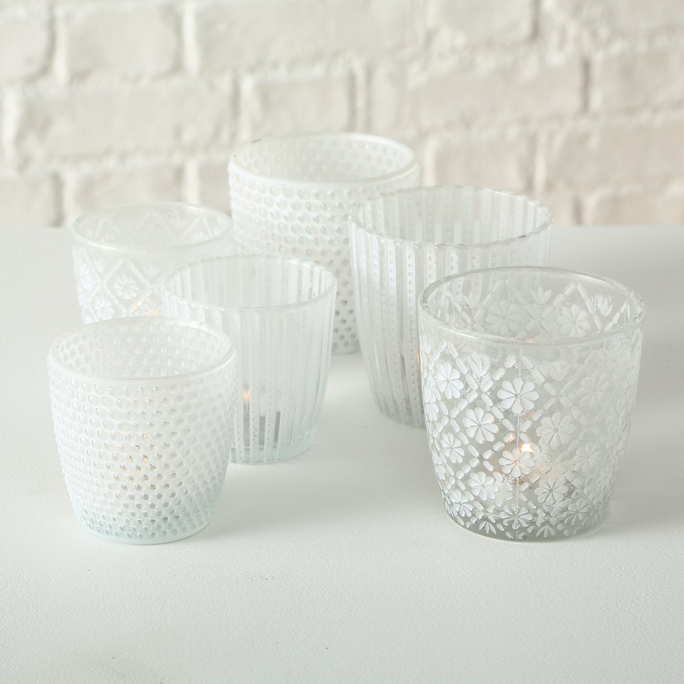 Set of three large Eliza glass votives