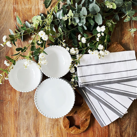 Set of four Woven Grey Stripe White Napkins.